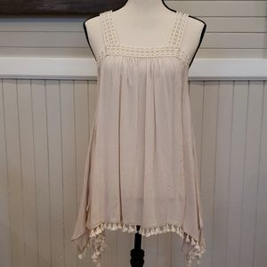Cream colored tank style with fringe NEW